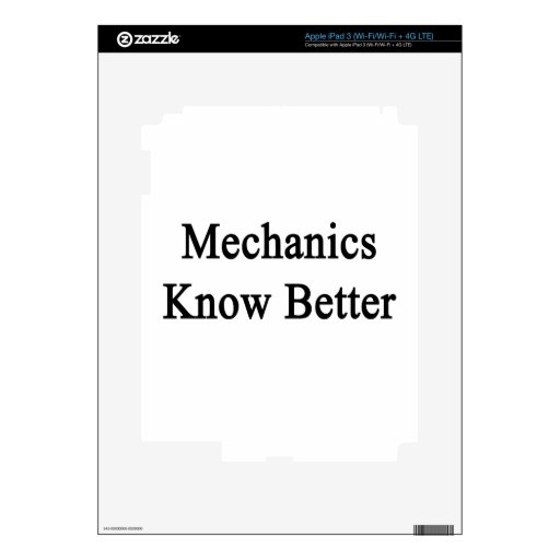 Mechanics Know Better iPad 3 Decals