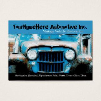 Mechanics Repair Shop with closeup wreck car Business Card