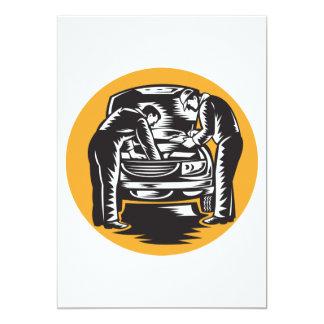 Mechanics Working On A Car Invitations