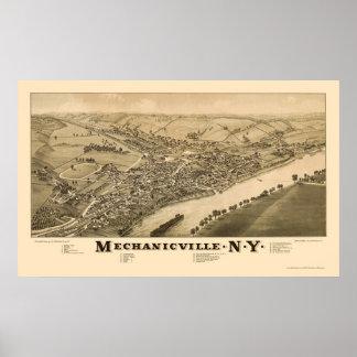 Mechanicville, mapa panorámico de NY - 1885 Impresiones