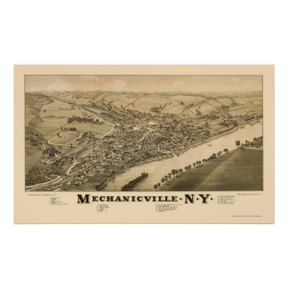 Mechanicville, NY Panoramic Map - 1885 Poster