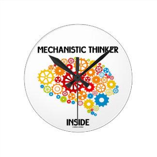 Mechanistic Thinker Inside (Gears Brain) Round Clocks
