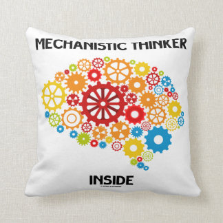 Mechanistic Thinker Inside (Gears Brain) Throw Pillow