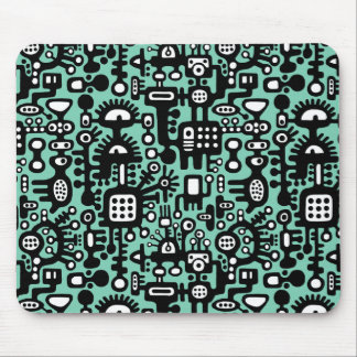 Mechanoid World - Black and White with Light Green Mouse Pad