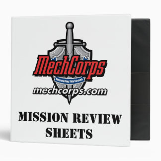 MechCorps Mission Review Sheet Binder