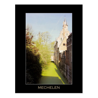 Mechelen Dyle river, 15th c. crow-stepped gable Postcard