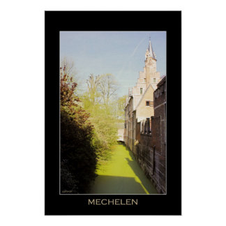 Mechelen Dyle river, 15th c. crow-stepped gable Poster