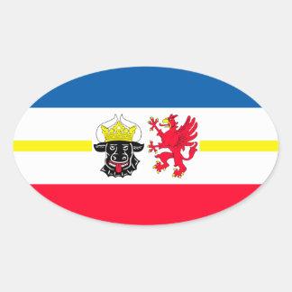 Mecklemburgo-Pomerania Occidental bandera Pegatina Ovalada