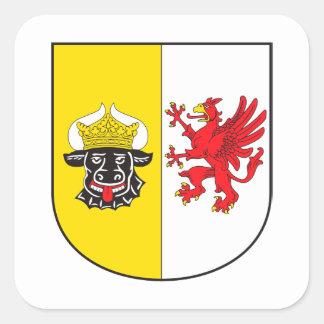 Mecklemburgo-Pomerania Occidental escudo de armas  Pegatina Cuadrada
