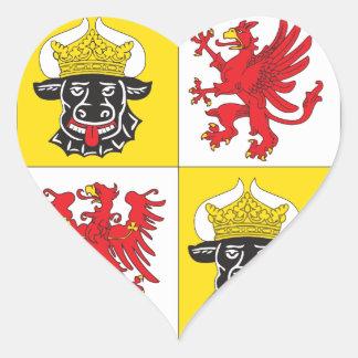 Mecklemburgo-Pomerania Occidental escudo de armas  Pegatina En Forma De Corazón