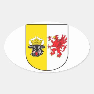 Mecklemburgo-Pomerania Occidental escudo de armas  Pegatina Ovalada