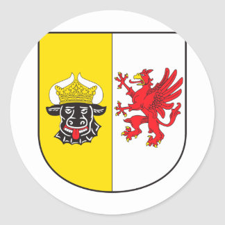 Mecklemburgo-Pomerania Occidental escudo de armas  Pegatina Redonda