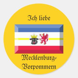 Mecklenburg-Vorpommern Flag Gem Round Sticker