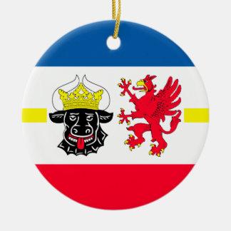 Mecklenburg-Western Pomerania flag Double-Sided Ceramic Round Christmas Ornament