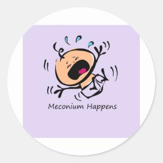 Meconium sucede etiquetas redondas