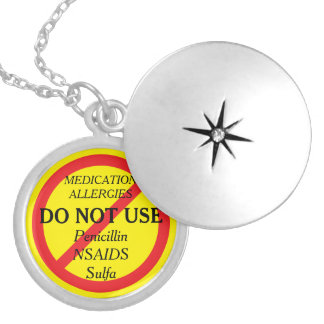 Med Allergies Sulfa Medical Alert ICE Locket Necklace