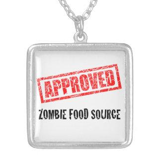 MED APROBADO de la fuente de la comida del zombi. Collar Plateado