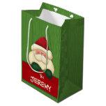 MED bolso conocido verde y rojo de Santa de Bolsa De Regalo Mediana