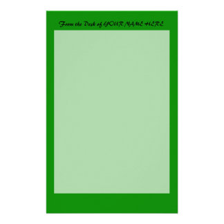 med green DIY custom background template Stationery