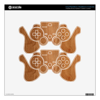 Med-Lt Wood Grain PS3 Controller Decal