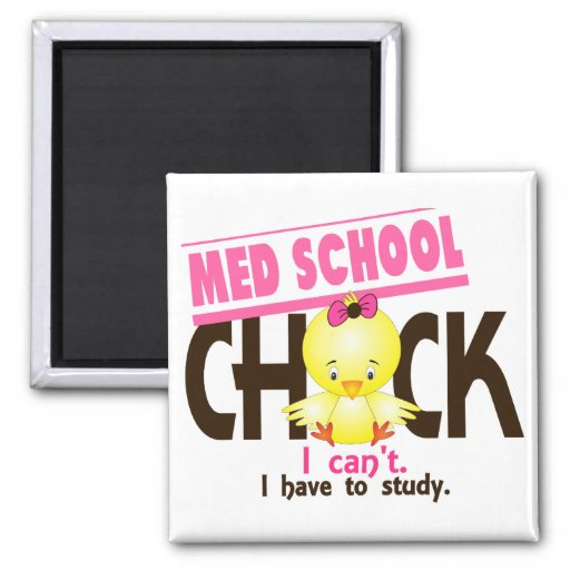 Med School Chick 1 2 Inch Square Magnet