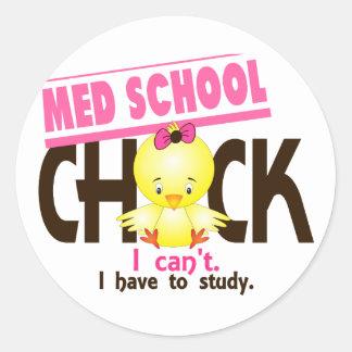 Med School Chick 1 Classic Round Sticker