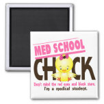 Med School Chick 2 2 Inch Square Magnet