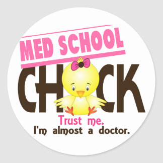 Med School Chick 3 Classic Round Sticker