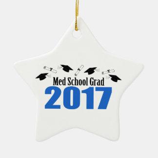 Med School Grad 2017 Caps And Diplomas (Blue) Ceramic Ornament