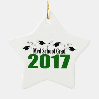 Med School Grad 2017 Caps And Diplomas (Green) Ceramic Ornament
