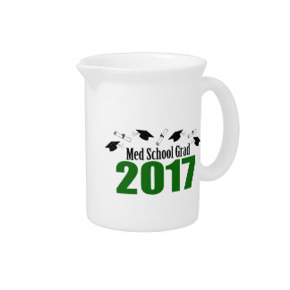 Med School Grad 2017 Caps And Diplomas (Green) Drink Pitcher