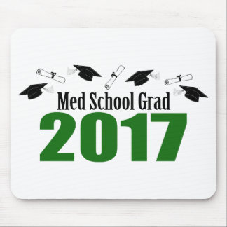 Med School Grad 2017 Caps And Diplomas (Green) Mouse Pad