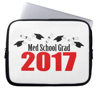 Med School Grad 2017 Caps And Diplomas (Red) Computer Sleeve
