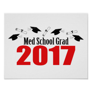 Med School Grad 2017 Caps And Diplomas (Red) Poster