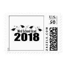 Med School Grad 2018 Caps And Diplomas (Black) Postage