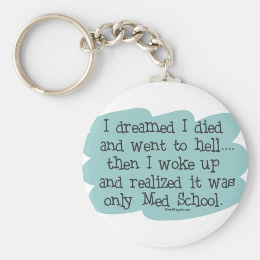 Med School or Hell? Basic Round Button Keychain