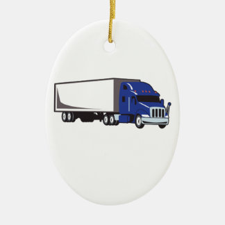 MED SEMI TRUCK CERAMIC ORNAMENT