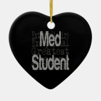 Med Student Extraordinaire Double-Sided Heart Ceramic Christmas Ornament