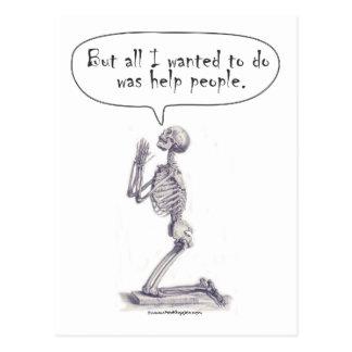 Med Student Skeleton Prayer Post Card