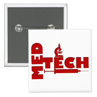 MED TECH MICROSCOPE SYRINGE (MEDICAL TECHNOLOGIST) 2 INCH SQUARE BUTTON