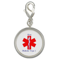MedAlert Diabetes Round Charm, Silver Plated Charm