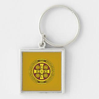 medalla clara amarilla roja del St Benedicto Llavero Cuadrado Plateado