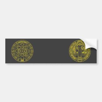 Medalla cruzada de San Benedicto ambos lados Etiqueta De Parachoque