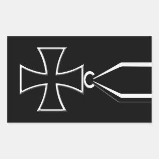 Medalla cruzada del hierro pegatina rectangular