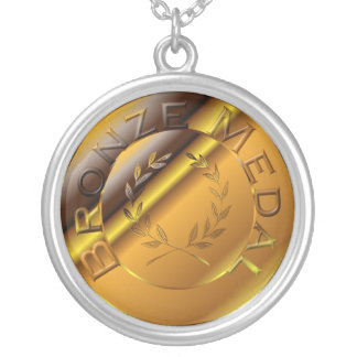 Medalla de bronce collar plateado