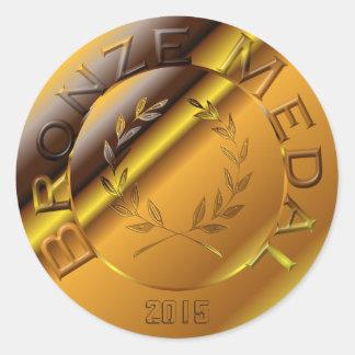 Medalla de bronce con la opción del año pegatina redonda
