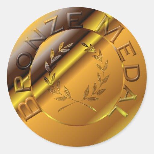 Medalla de bronce pegatinas redondas