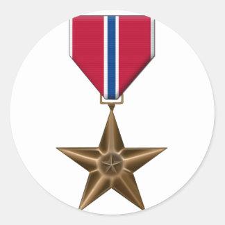 Medalla de estrella de bronce etiqueta redonda