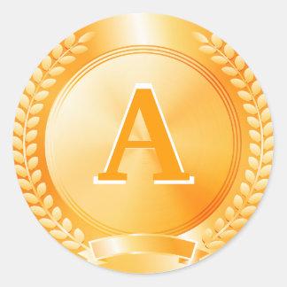 Medalla de honor del oro pegatinas redondas