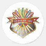 Medalla de la medalla del arte pegatinas redondas